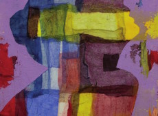 Alena, cm. 90 x 100 garze colorate e tecnica mista su tela