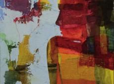 Aspettando, cm. 80 x 70 garze colorate e tecnica mista su tela