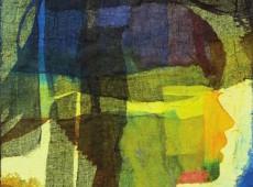 Astratto con figura, cm. 50 x 40 garze colorate e tecnica mista su tela