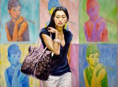 Audrey Hepburn Olio su tela Cm. 120x150