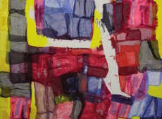 Equilibri precari, cm. 200 x 180 garze colorate e tecnica mista su tela