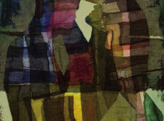 L'illusione, cm. 100 x 90 garze colorate e tecnica mista su tela