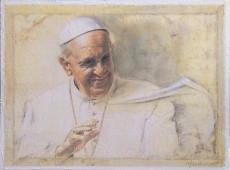 Marchionni Elvio Papa Francesco serigrafia su tela ritoccata a mano centimetri 30 X 40