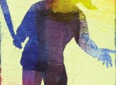 Pittoscultura 002, cm. 20 x 30 x 6, garze colorate e tecnica mista su tela