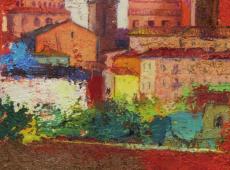 Pittoscultura 003, cm. 20 x 30 x 6, garze colorate e tecnica mista su tela
