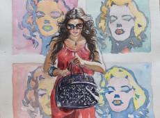 Pop girls acquerello su carta Cm. 36x36 2015