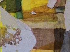Sbadiglio, cm. 50 x 40 garze colorate e tecnica mista su tela